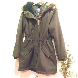 Vince Camuto Green Wool Blend Parka Coat